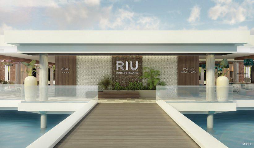 Entrance to the hotel Riu Atoll, located in Atolon Dhaalu, Maldives