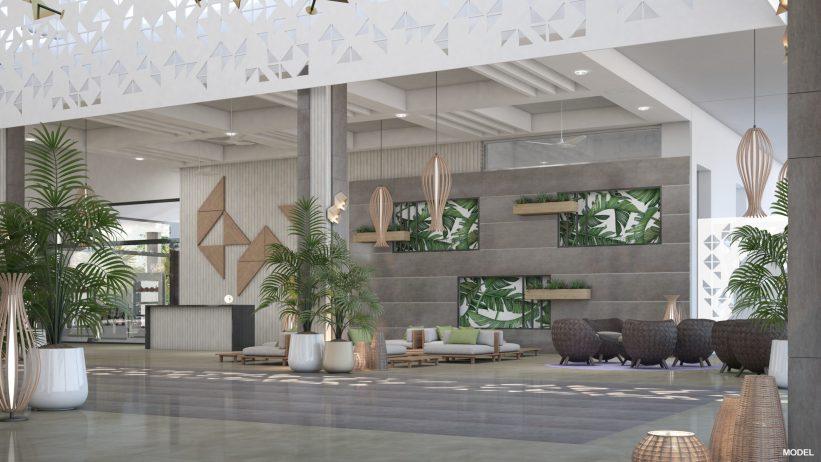 Foyer des Riu Ocho Rios Hotels auf Jamaika, das Luis Riu in 2019 vor hat zu renovieren.
