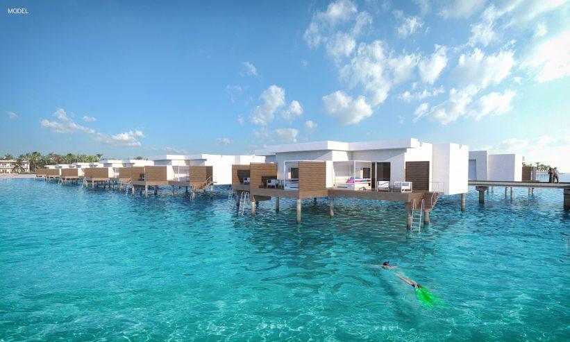 Diseño de las futuras suites del hotel Riu Atoll, construidas directamente sobre el agua del Índico en Maldivas