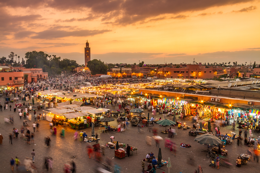 The Jemaa el-Fna Square is one of the busiest thoroughfares in Marrakesh