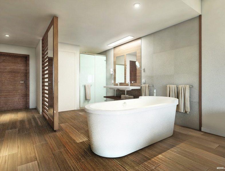 Badezimmer der über dem Meer gelegenen Zimmer des Hotels Riu Palace Maldivas