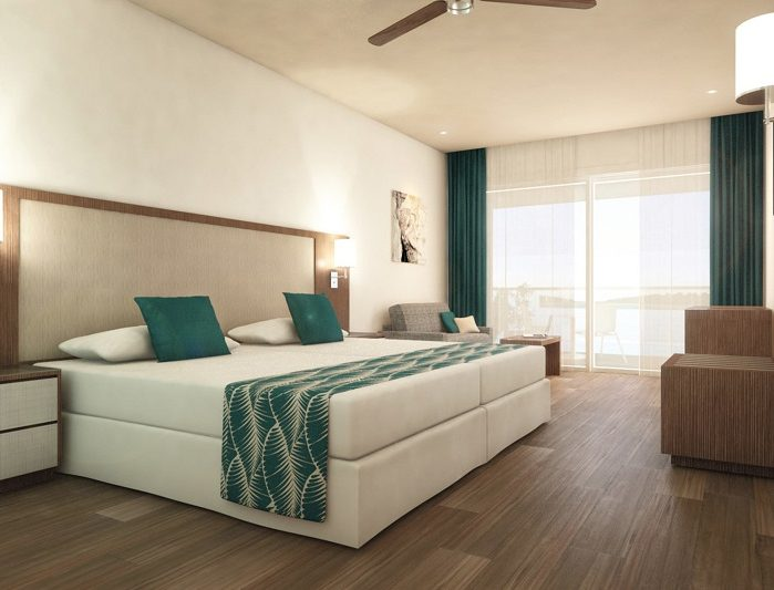 This is what the bedroom interiors will look like at the Riu Atoll.