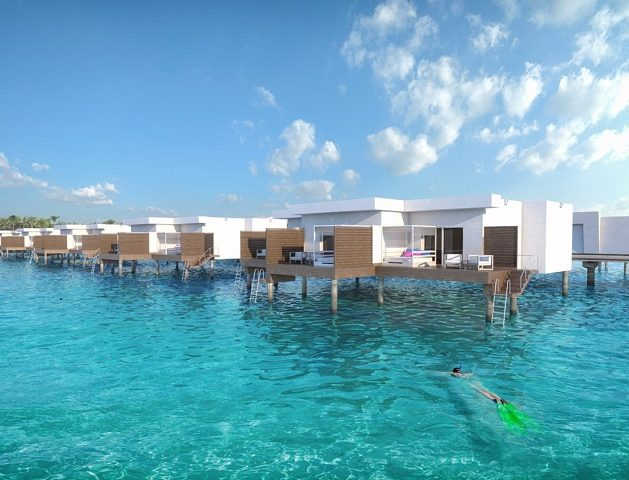 The overwater rooms of the hotel Riu Atoll provide direct access to the sea