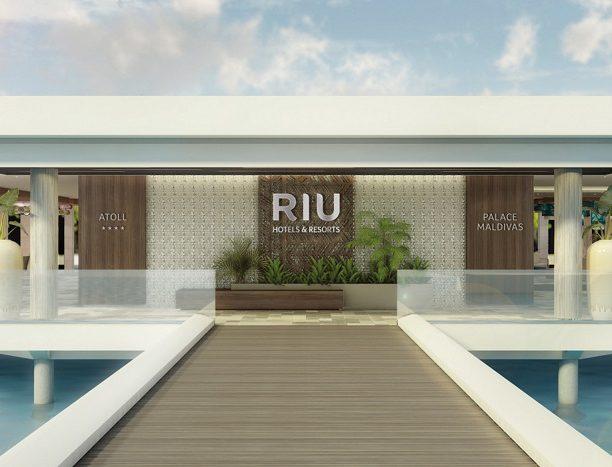 Die Hotels auf den Malediven teilen sich den Eingang zur Rezeption