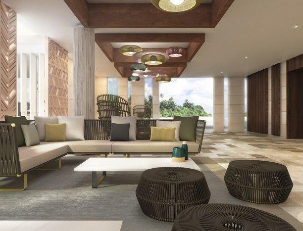 So sieht die Lobby des Hotels Riu Atoll aus