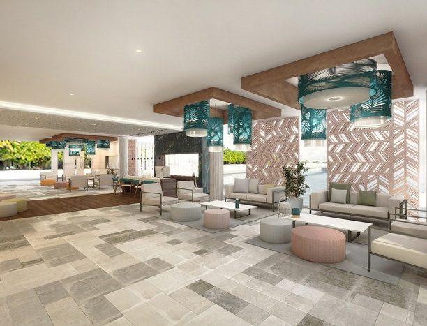 Este es el aspecto que presentará el lobby del Riu Palace Maldivas.