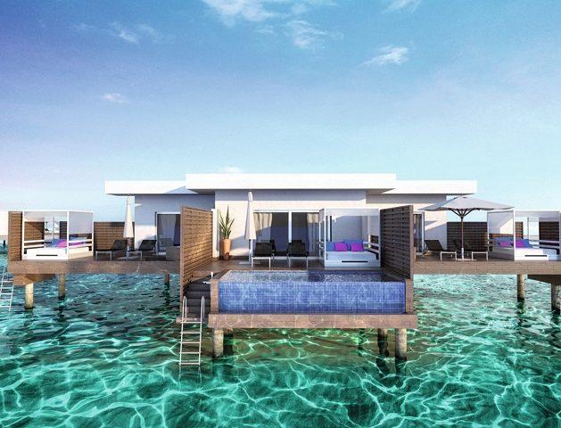 1) Así serán las habitaciones sobre el agua con piscina privada.