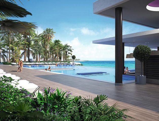 Von allen Gästen genutzter Pool des Hotels Riu Palace Maldivas