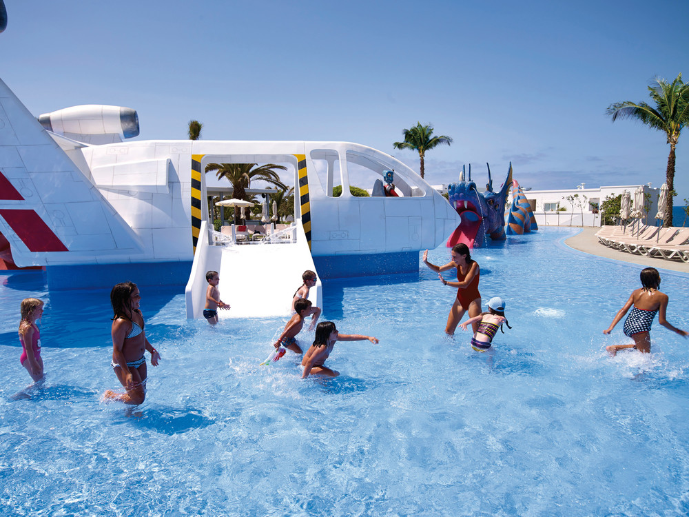 Hotel RIU Gran Canaria's splash for children includes a mock spaceship