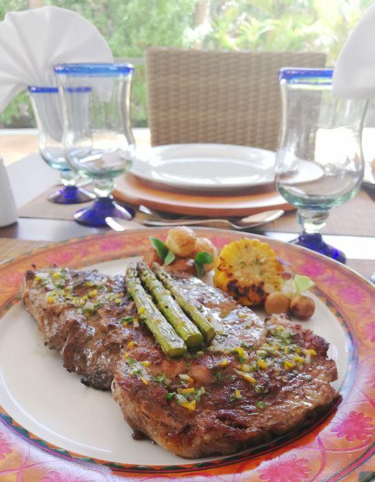 """Grilled Rib Eye Steak"" at the Riu Playacar hotel"