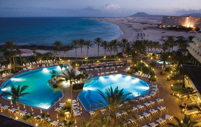 The Riu Palace Tres Islas has spectacular views of the beach at nightfall