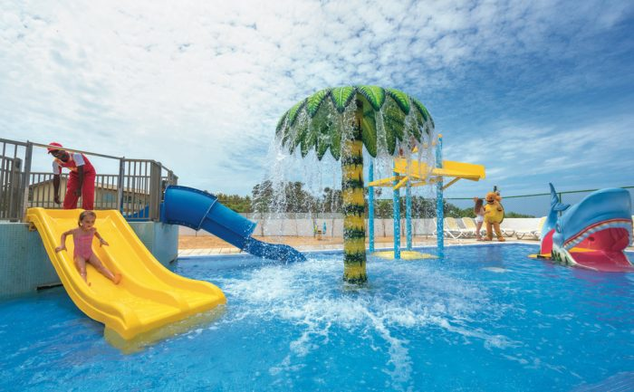 The children's pool at the Riu Sri Lanka has slides for children