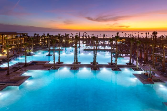 The new RIU hotel in Morocco has five enormous swimming pools with a cascading design.