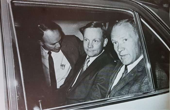 Neil Armstrong, Buzz Aldrin and Michael Collins after returning from their trip to the moon