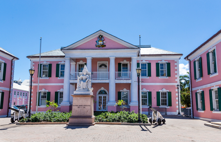The parliament building of the Bahamas is characterised by its pink facade
