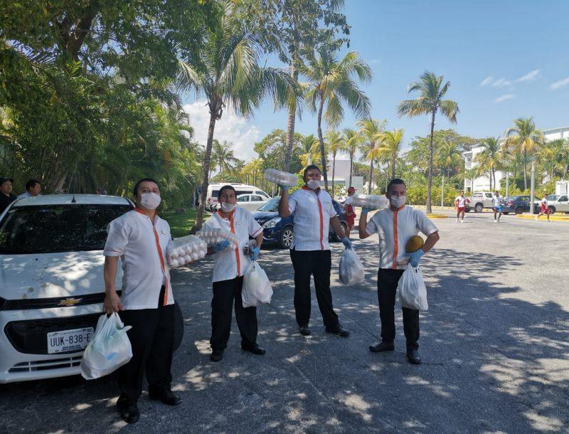 Spende von Grundnahrungsmitteln des Hotels Riu Yucatán in Mexiko aufgrund der Coronavirus-Krise