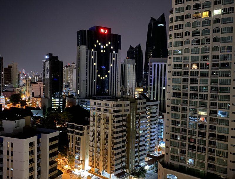 Illumination of the Riu Plaza Panama hotel because of the COVID-19 pandemic