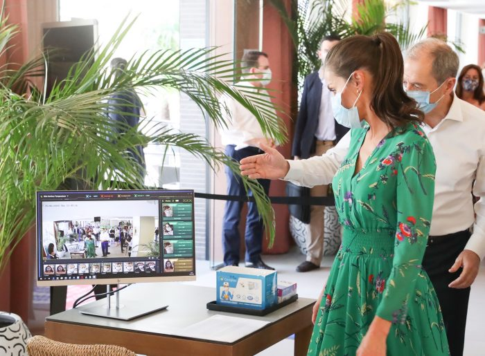 Queen Letizia checks the anti-coronavirus security protocols implemented at RIU hotels