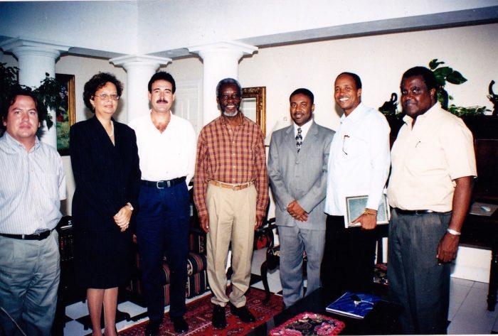Reunión de Luis Riu con P.J. Patterson, presidente de Jamaica