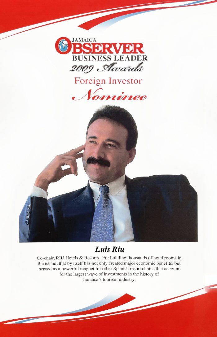 Nominación de Luis Riu a los premios Business Leader 2009 del Jamaica Observer